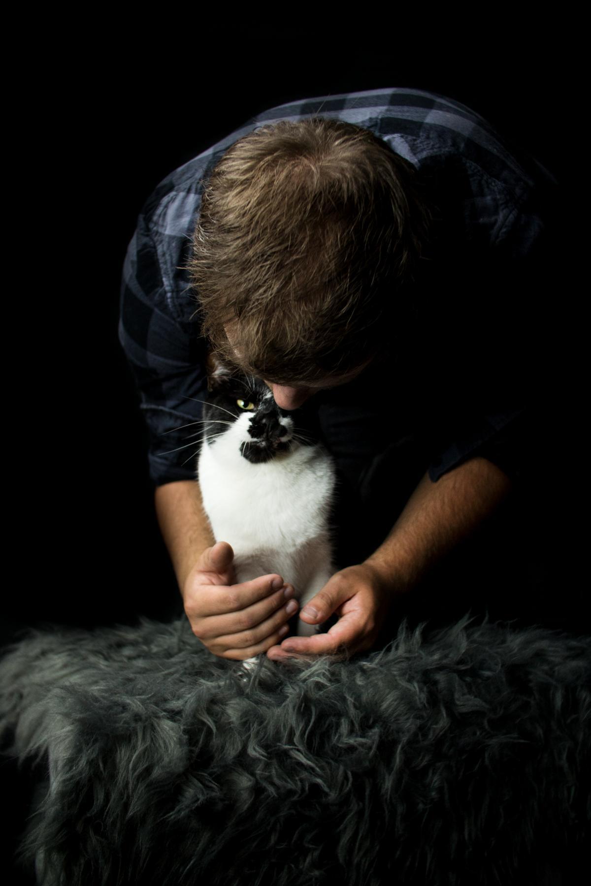 Schwarz Weiß Katze Studio